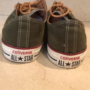 Converse Shoes - Men's size 11.5 army green converse with tan laces